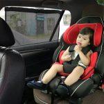 車のベビーシートの温度上昇を抑える日よけカーテンは、赤ちゃんとのお出かけの必需品